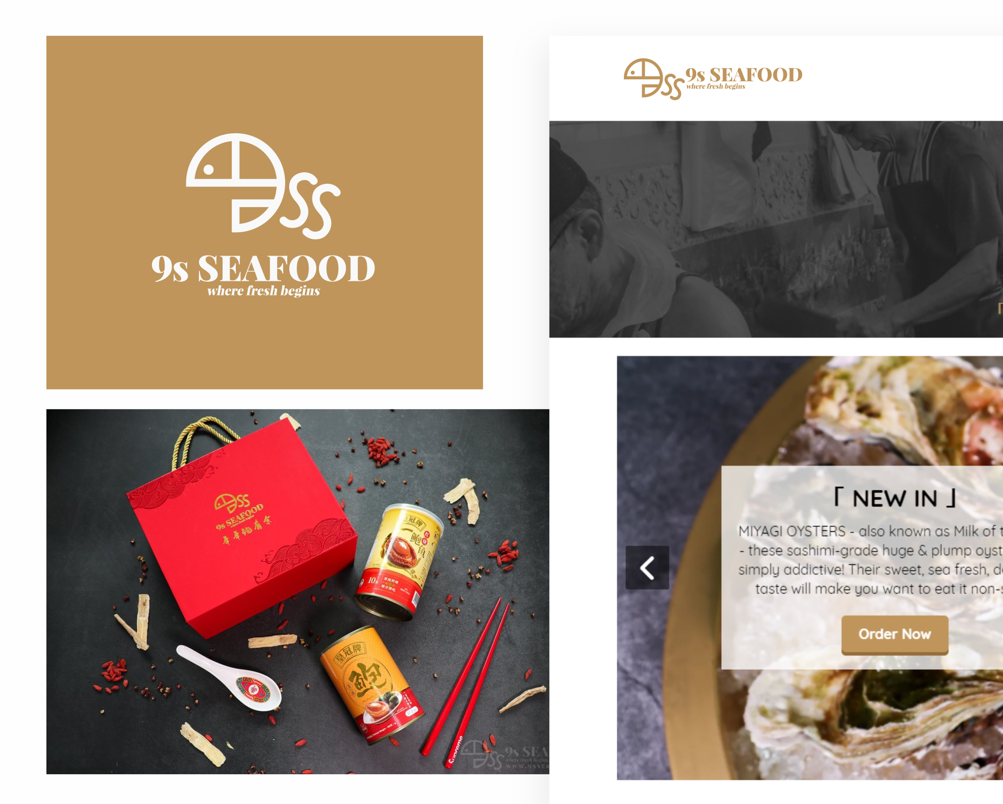 Logo design for 9s Seafood. Designed by Johnery