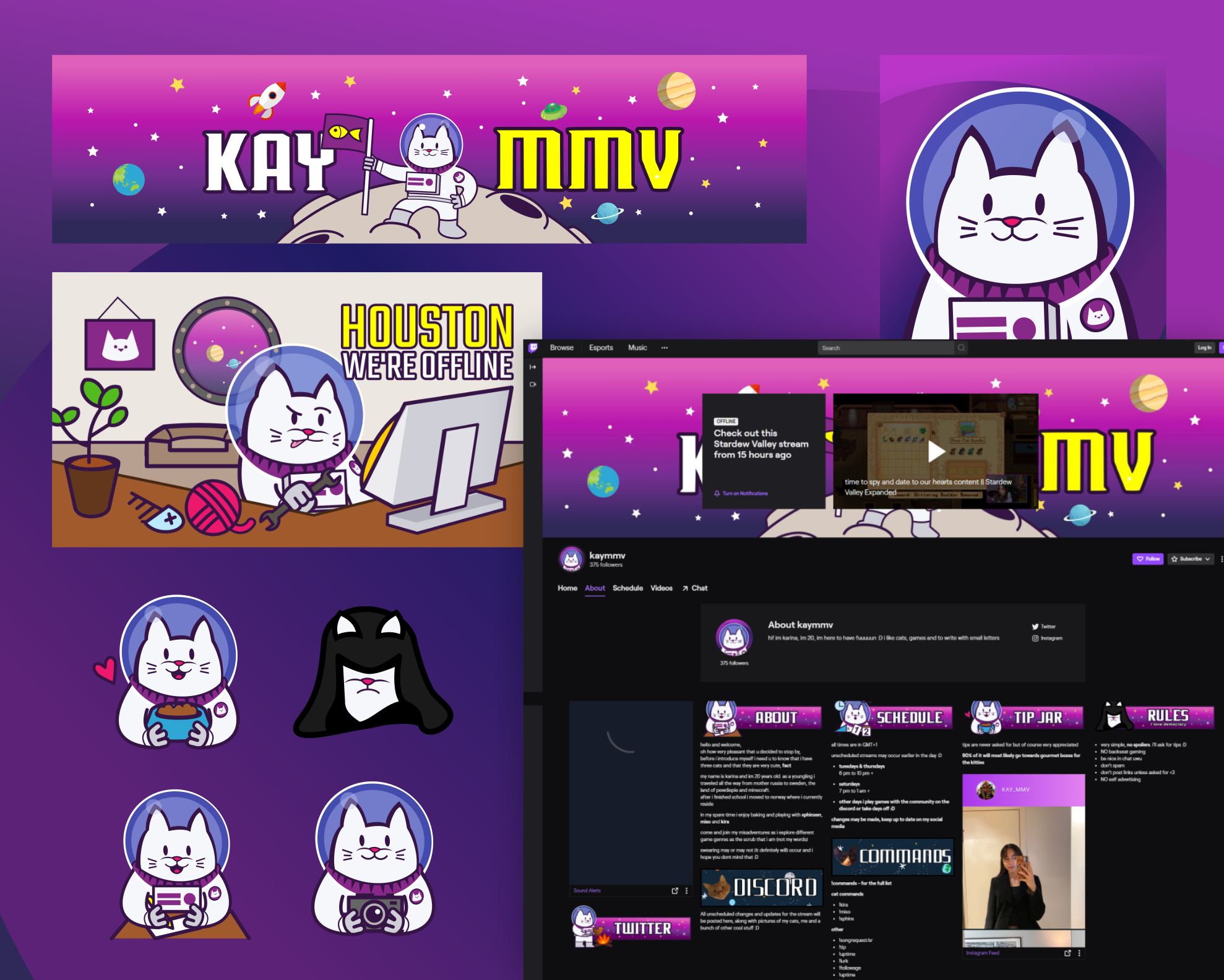 Twitch graphics for kayMMV. Designed by Johnery