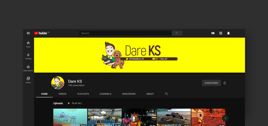 YouTube Graphics for DareKS. Designed by Johnery