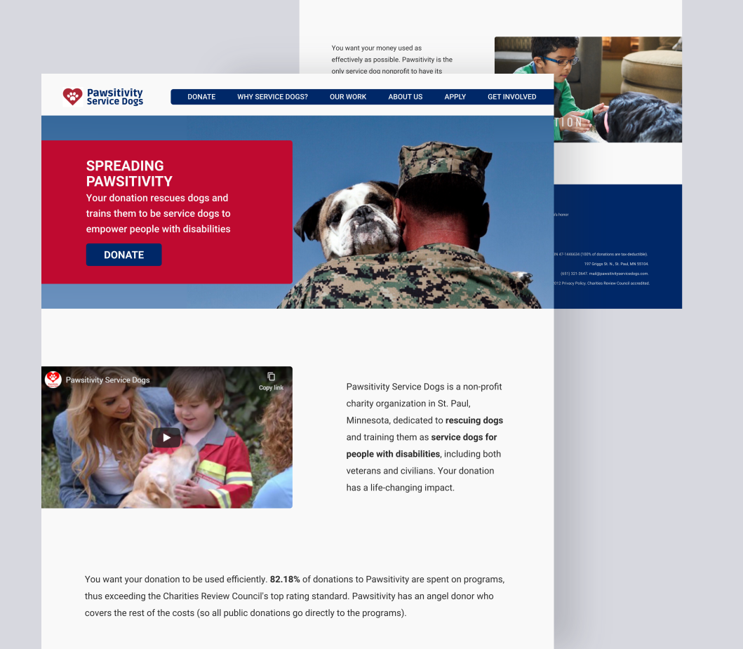 Web design for Pawsitivity. Designed by Johnery