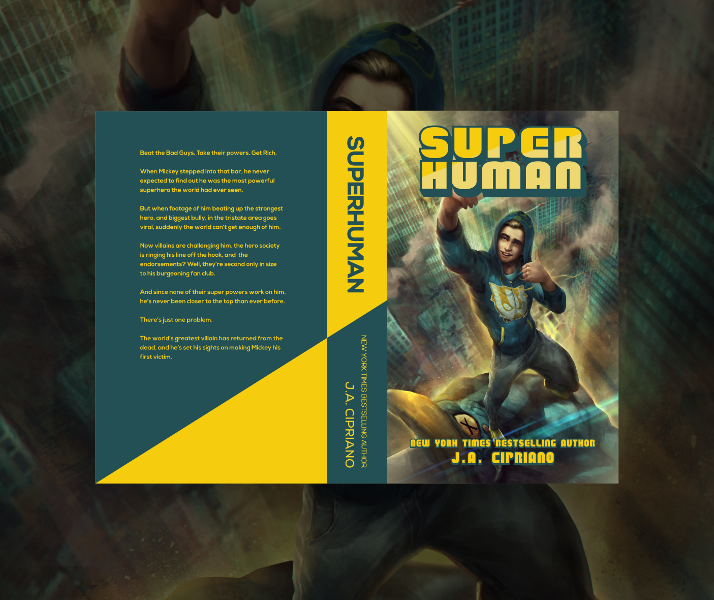 Book cover design for Superhuman. Designed by Johnery