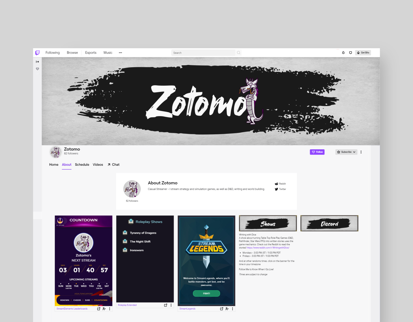Twitch graphics for Zotomo. Designed by Johnery